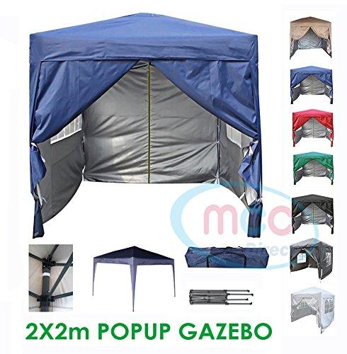 Mcc® gazebo impermeabile premier 2x2m gazebo pieghevole, tendone a baldacchino con strato protettivo d'argento [ws] (colore blu)