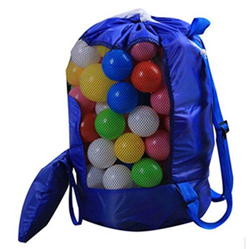 Wonque Bolsa de Almacenamiento de Playa con cordón Mochila Bolsa de Juguetes Bolsa de Malla al Aire Libre para niños Plegable 1 Pieza, Azul, 48 * 24CM