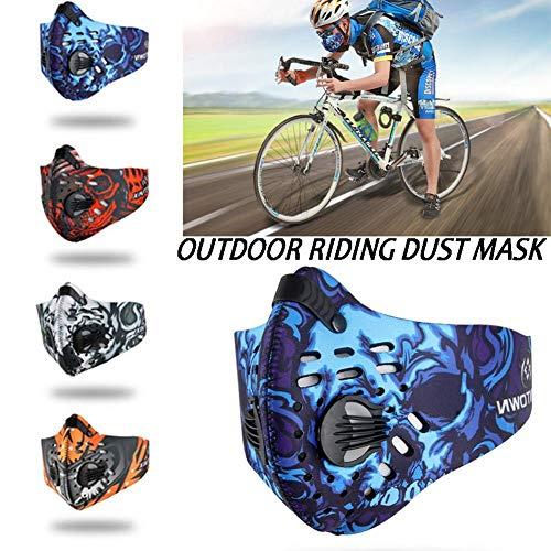 Lucky-all star Outdoor Sports polvere maschera equitazione antipolvere a carbone attivo maschera colorata traspirante confortevole per uomini e donne, Blue