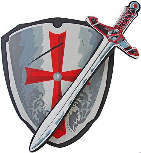 Arthur King Kostüm Kinder Für (Kinder Ritter-Rüstung Schild & Ritter-Schwert aus Schaumstoff, weich und flexibel Ritter-Kostüm Verkleidung Fasching Karneval)