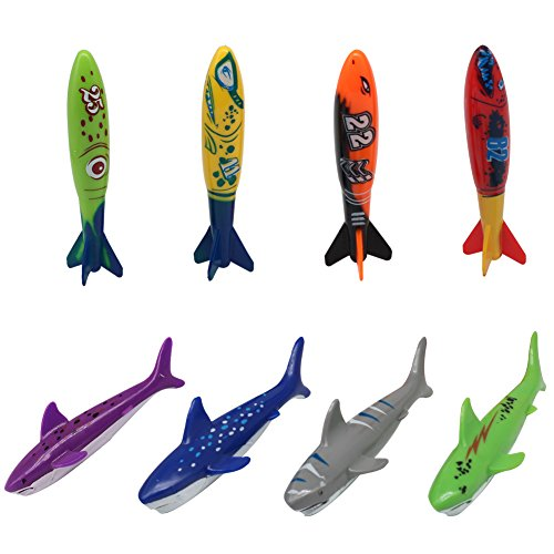 Akokie Dive Sticks, Swimming Pool Stick, Bath Water Toys Underwater Swim Beach Toy Throwing Shark Rocket Torpedo Shape for Kids 5 6 7 8 Years Old, Random Color (8 Pcs)