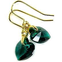 Gala de color verde esmeralda Juego de pendientes de Swarovski 10 mm chapado en oro de corazones de cristal de regalo de fotos para hacerlo tú Diosa joyas