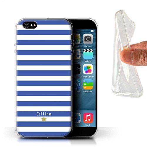Personalisiert Individuell Streifen/Gestreift Gel/TPU Hülle für Apple iPhone 8 Plus / Schwarz Streifenherz Design / Initiale/Name/Text Schutzhülle/Case/Etui Blau Streifenstern