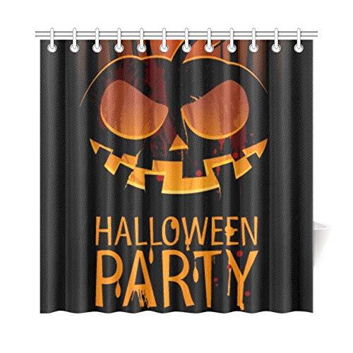 JOCHUAN Wohnkultur Bad Vorhang Halloween Party Design Vorlage Kürbis Platz Polyester Stoff Wasserdicht Duschvorhang Für Badezimmer, 72X72 Zoll Duschvorhänge Haken Enthalten