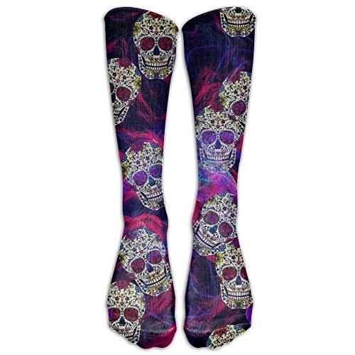 Rosa Schädel-knie-socken (yiyuanyuantu New Dia DE LOS Muertos Skulls Funny Casual Soft Cotton Socks Unisex Knee Crew Socks One Size(cff93e81) 0 50CM)