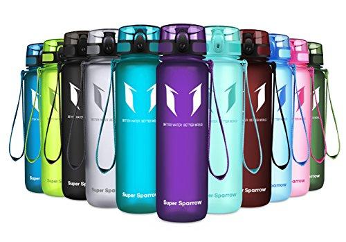 Super Sparrow Trinkflasche 500ml Eco Friendly & BPA-freiem Kunststoff Ideale Wiederverwendbare Mit Dicht Schließendem Deckel (Orchidee, 500ml-17oz)
