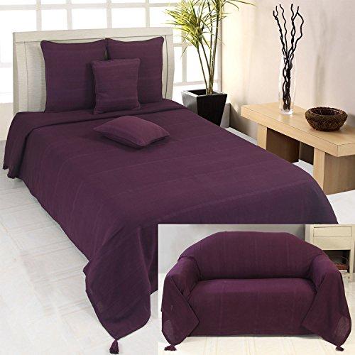 Homescapes Jeté de lit et jeté de canapé Rajput de couleur Violet de 230 x 260 cm en pur Coton