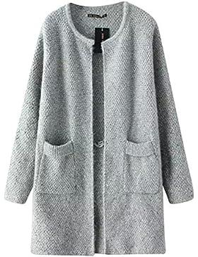 Quge Abrigo de Punto Mujeres Grueso Elegante Casual Cardigan Largo Chaqueta Outwear