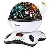 Moredig Sternenhimmel projektor lampe, musik nachtlicht lampe 360° Grad Rotation mit LED-Anzeige, 8 romantische licht, perfektes geschenk für babys, kinder, geburtstage - Schwarz
