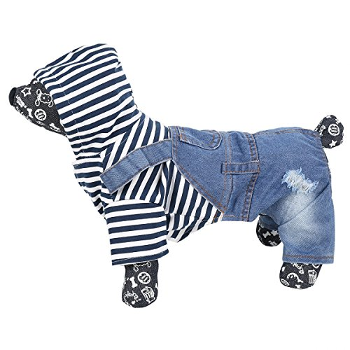 Kostüm Samojede (YiZYiF Hundemantel Jacke für Klein und Mittelunter Hunde Warm Jeans Shirt Overall Einteiler Cowboy Kostüm Brustschutz Harness Blau + Schwarz + Weiß)