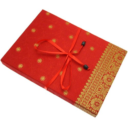 Fair Trade Briefpapier-Set Sari 170 x 230 mm - rot