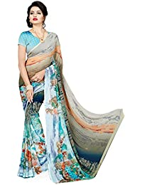Kashvi Sarees Faux Georgette Printed Blue Color With Blouse Piece ( 1363 )