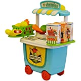 ToysCentral Supermarket Cart Playset With Toy Vegetables For Pretend Play And Interactive Learning, 29-Pieces Kit In A Storage Box With Wheels