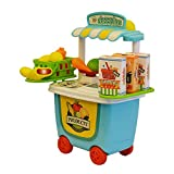 #9: ToysCentral Supermarket Cart Playset with Toy Vegetables for Pretend Play and Interactive Learning, 29-Pieces Kit in a Storage Box with Wheels