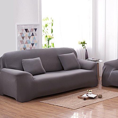 Copridivano a 3 posti lounge, tratto pieno fodera elastico, 7 colori solidi opzione ( colore : grey )