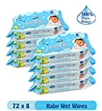 Glider Baby Wet Wipes with Aloe Vera and Vitamin E - 72 Wipes/Pack, (Pack of 8)