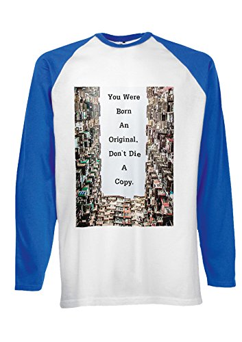 Born Original Do Not Die Copy Cool Novelty Black/White Men Women Damen Herren Langarm Unisex Baseball T Shirt Verschiedene Farben Blau