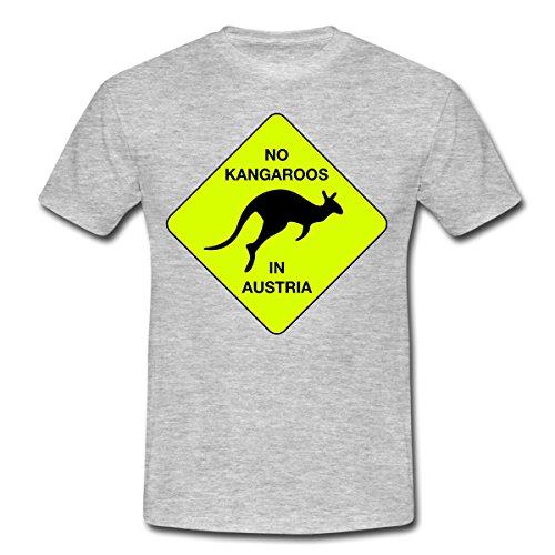 Spreadshirt No Kangaroos in Austria Kein Kängaru in Österreich Männer T-Shirt, 3XL, Grau meliert