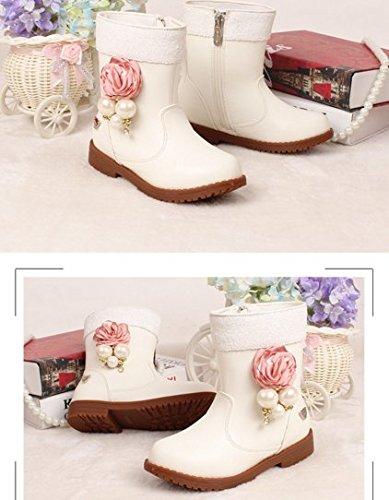 Ohmais Enfants Fille bottes et bottines botte classiques fille petit talons Chaussure Blanc