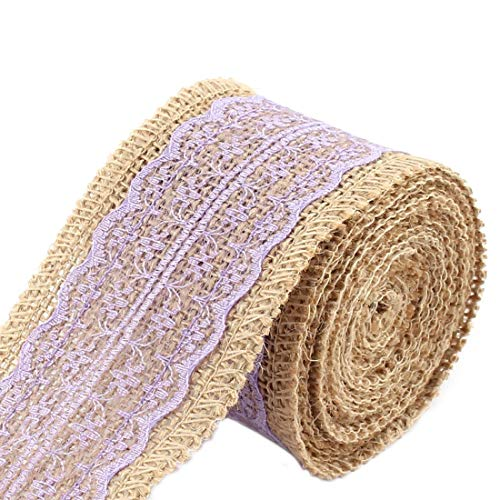 ZCHXD Burlap Home Christmas DIY Gift Wrapping Packing Ornament Craft Ribbon Roll Tape Light Purple