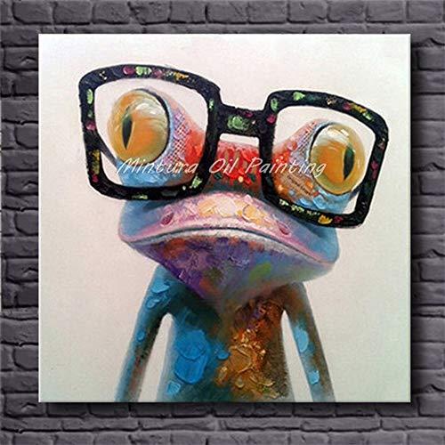 GNEHSL Handgemaltes Ölgemälde Auf Leinwand,Bunte Tier Frosch Mit Brille, Handbemalte Modernes Wohnzimmer Wand Kunst Bilder Dekoration Ölgemälde Auf Leinwand Kunst Kein Frame