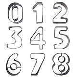 OtdAir Ausstecher,Ausstechformen Zahlen,Edelstahl-Ausstecher Set der Zahlen 0-9,Kuchen Dekorieren,Glasur,Fondant und Zuckerkreationen,Edelstahl.