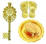 #7: Kriwin Combo of Laxmi Charan Paduka, Wish fulfilling tortoise on Plate & Kuber Kunji Key ( gold) Vastu, Fengshui, Diwali Auspicious Items