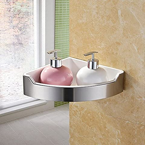 KES Corner Shower Caddy Bathroom Triangular Tub and Shower Basket Wall Mount SUS 304 Stainless Steel and ABS Plastics Contemporary Style Brushed Finish and White,