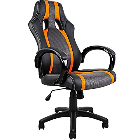 Deuba Executive Racing Style Computer Gaming Desk Chair - High Back Ergonomic Design Office Chair with PU Leather, Swivel and Adjustable Height - Black/Orange