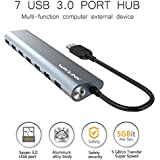 WAVLINK Aluminum 7 Port USB 3.0 Hub Superspeed With 5V/4A Power Adapter Multitask USB Extender Plug And Play For MacBook, IMac, Ultrabook, PC- Gray
