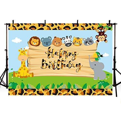 Mehofoto Safari Boy Happy Birthday Party Kulisse Dschungel Safari Tiere Fotografie Hintergrund Grün Leopard Zoo Wald Foto Banner für Dessert Tisch Supplies 17,8 x 152 cm