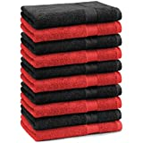 Betz Paquete de 10 piezas de toallas cara Juego tamaño 30x30 cm 100% algodón PREMIUM toallas para la cara Paño de color rojo y negro