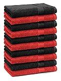 Betz 10er Pack Gästehandtücher Set Gästetuch 100% Baumwolle Größe 30x50 cm Handtuch Premium Farbe Rot & Schwarz