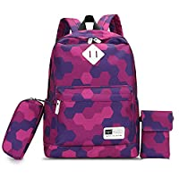 HIKKER-LINK Cute Backpack for Girls School Phone Hand Bags Pencil Case 3 Pieces Set Camouflage Rose