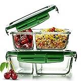 Boîte alimentaire en verre avec couvercle (lot de 2) sans BPA, hermétique et...