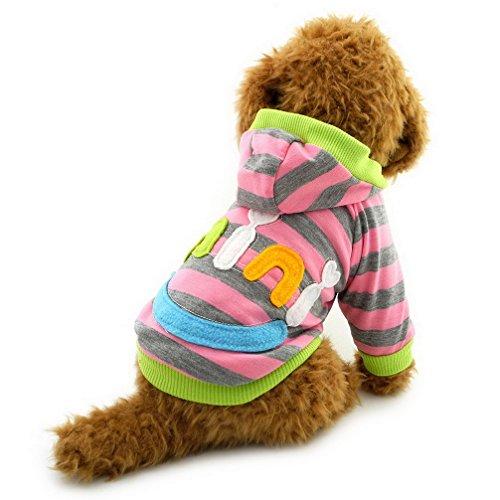 ranphy Kleiner Hund Katze Hoodie Haustier Kleidung für männlich weiblich Mini Smile Patch gestreift Sweatshirt Kapuzen Shirt Baumwolle Hunde ()