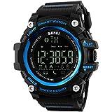 Gazechimp Bluetooth Reloj Inteligente Pedómetro Aplicación de Recordar Almacenamiento de Datos para Hombres - Azul