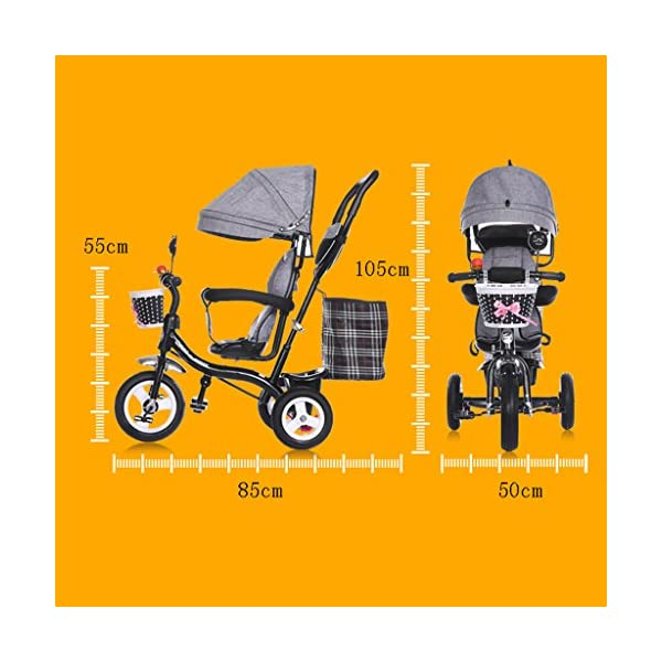 Pushchairs Multifunctional Child Tricycle Trolley 1-3 - 5 Years Old Bike Baby Bicycle Baby Car Prams (Color : E)  Features assembled canopies without worrying about rain and sunshine,Safety features and safety belts are provided for safety. The pedal can be folded for more convenient use: the pedal can be folded to make travel more convenient. Upgrade the thickened sponge pillow to protect the baby's head and make the baby ride safer. 2
