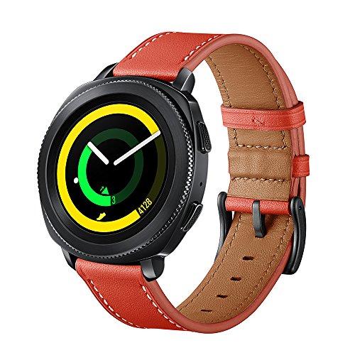 SUNDAREE Kompatibel mit Gear Sport Armband,20mm Echtleder Ersatz Smart Watch Band Armband Uhrenarmband für Samsung Gear Sport SM-R600/Samsung Gear S2 Classic/Samsung Galaxy Watch 42mm(S Red) - Uhrenarmbänder Große S Gear Für X