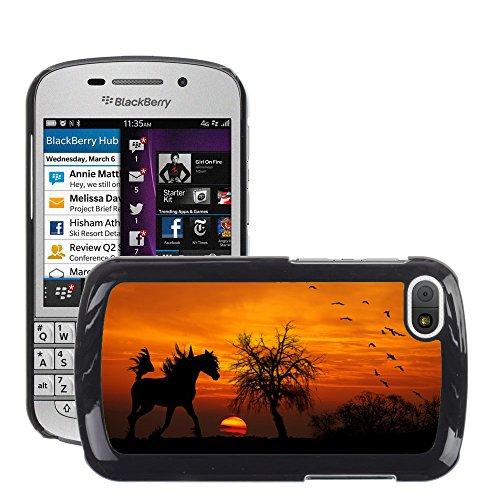 Grand Phone Cases Bild Hart Handy Schwarz Schutz Case Cover Schale Etui // M00140399 Pferde arabischen Sonnenuntergang Holz // BlackBerry Q10 (Q10 Arabisch)