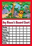 RED JUNGLE ANIMALS STAR STICKER REWARD CHART
