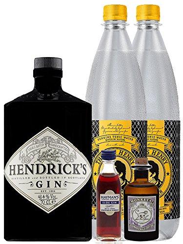 Gin-Set Hendricks Gin Small Batch 0,7 Liter + Haymans Sloe Gin 5cl + Monkey 47 Schwarzwald Dry Gin 5cl MINIATUR + 2 x Goldberg Tonic Water 1,0 Liter (Alkohol 47)