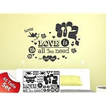 Sticker murale Set per Living Forever Love cuore dicendo (57x57cm // 035 Pastello Arancione)