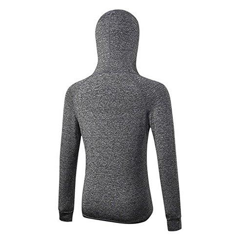 Snewvie Femme Sweat à Capuche Sweatshirt Zippé Séchage Rapide Respirant Fitness Yoga Course Gym S-XXL Gris