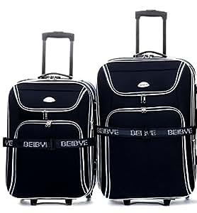 trolley koffer set 2 teilig xxl volumen 66 56cm dehnfalte schwarz sport. Black Bedroom Furniture Sets. Home Design Ideas