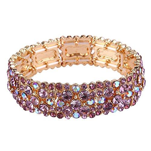 Flyonce Frauen Runde Österreichische Kristall Elegante Braut Stretch-Armband Lila Gold-Ton (Kristall-armband Runde)