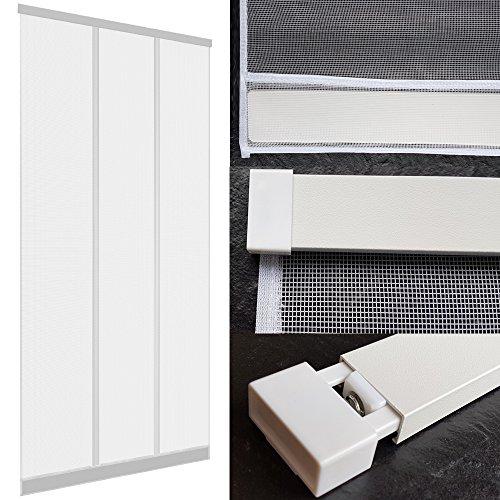 Insektenschutz Tür Vorhang 100 x 220 cm mit ALU Klemmleiste für sichere Befestigung ohne Bohren und Schrauben Türvorhang mit hochwertigen Fiberglas Lamellen und eingenähten Gewichten Fliegengitter-Tür, Farbe:Weiß