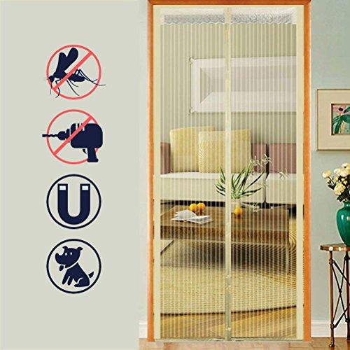 Zanzariera magnetica,sigillo da cima a fondo automaticamente, tenda a rete resistente tenere lontano da zanzare insetti,schermo adatto per porte fino a 100x210cm(beige)