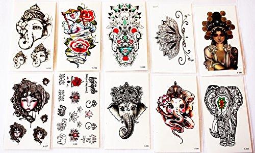 wolga-kreativ Tattoo Set 10 Bogen wie Hauptbild Elefant Lotus Blume Lotusbume indisch Rose temporäre Tattoos (temporäre Transferfolie, hautfreundlich)