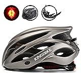 KING BIKE Fahrradhelm Herren Damen Erwachsene Rennrad Sicherheit Hinten mit Licht Helm Regenschutz Einstellbare Größe(Titan)